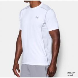 Ua Raid Ss T-Shirt Schiena Mesh Bianca Uomo