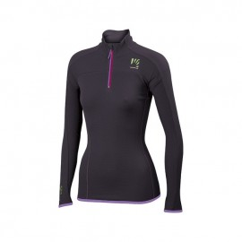 Verena W Fleece 16A Dark Grey Dett. Fuxia 1/2 Zip Donna