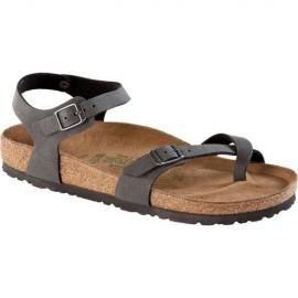 Taormina Brushed Black Regular Fit Sandalo Due Fibbie Donna