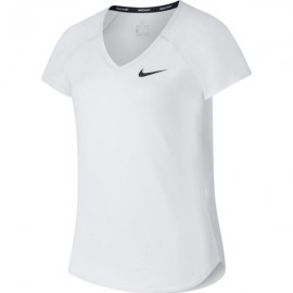 Nikecourt Pure T-Shirt M/M Tennis Scollo V Bianca Junior Bimba