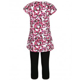 Completo T-Shirt M/M Stampa Farfalle + Capri Neri Junior Bimba