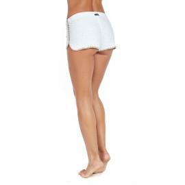 Pantaloncino Corto Bianco Ricamato Bordo Beige Donna