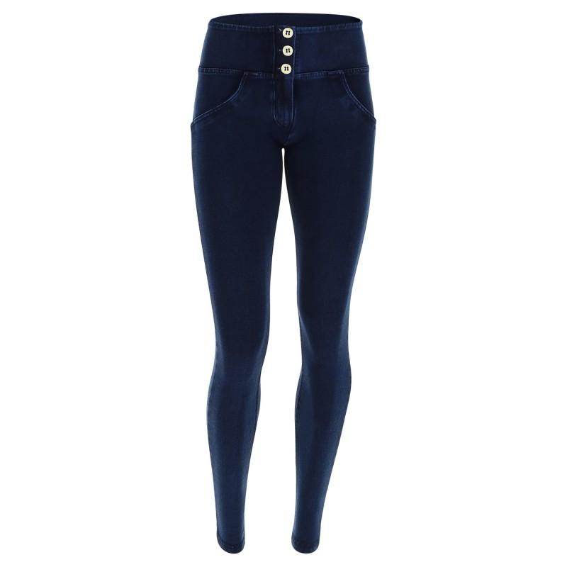 Wrup Pantalone Jeans Blu Scuro Denim Donna