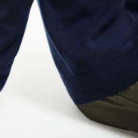 Maglione Giro Cotone Righine Blu Uomo