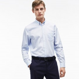 Camicia Microlavorazione Rettangoli Celeste Uomo