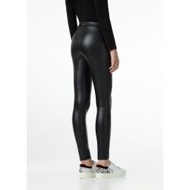 Leggings Tessuto Effetto Pelle Tasche Con Zip Nero Donna