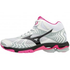 Wave Bolt 7 Mid Scarpa Volley Alta Bianco/Nero/Fuchsia Donna