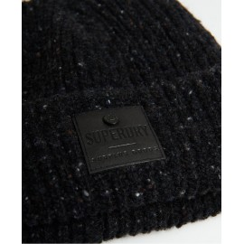 Superdry Surplus Goods Tweed Beanie Berretto Risvolto Nero Melange