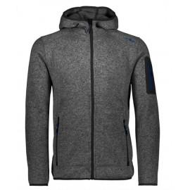 Man Fleece Jacket Fix Hood Pile Lana Zip Capp Gri Mel Uomo