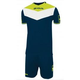 Kit Campo Fluo Completo Calcio Blu/Giallo Fluo Uomo