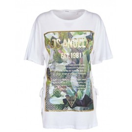 Guess Ss Cn Exotic Maxi T-Shirt M/M Bianca Stampa Tropicale Donna