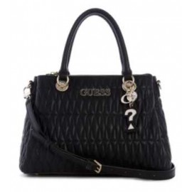 Guess Accessori Brinkley Triple Compartment Satchel Borsa Nera Trapuntata-Giuglar Shop