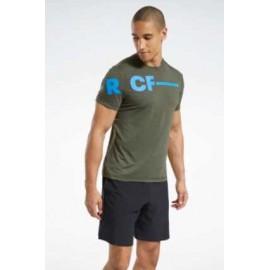 Reebok Rc Activchill Tee T-Shirt M/M Lycra Verde Stampa Azzurra Uomo-Giuglar Shop