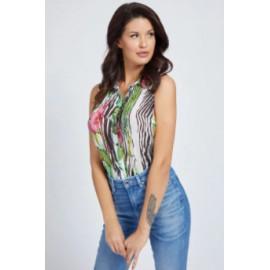 Guess Sl Clouis Shirt Scamiciato S/Maniche Stampa Zebra/Floreale Donna-Giuglar Shop
