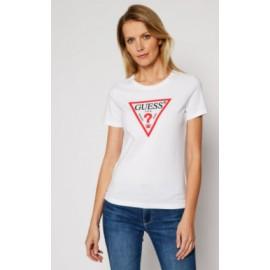Guess Ss Cn Original T-Shirt M/M Girocollo Bianca Logo Classico Donna-Giuglar Shop