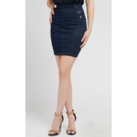 Guess Ultra Midi Skirt Gonna Denim Scuro Donna-Giuglar Shop