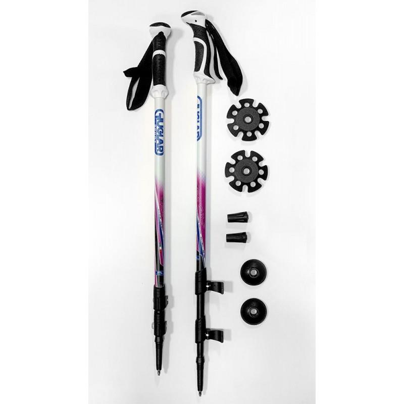 Italbastoni Hiker Plus Woman Bastoncino 3 Pezzi A Leva Logo Giuglar Fuxia - Giuglar Shop