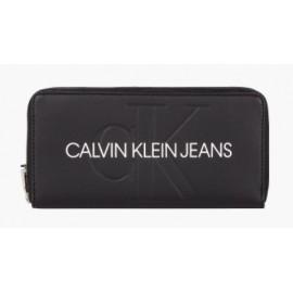 Calvin Klein Zip Around Black Portafogli 1 Zip Nero Scritta Bianca-Giuglar Shop