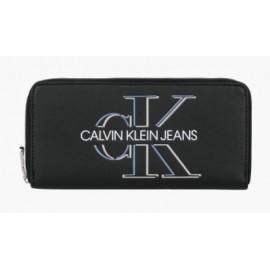 Calvin Klein Zip Around Glow Black Portafoglio 1 Zip Nero Logo Argentato-Giuglar Shop