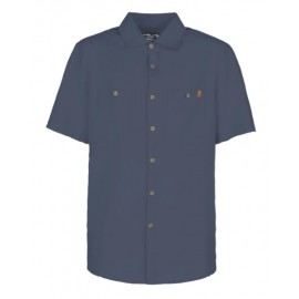 E9 Kiwi Camicia M/M Tela Lino/Cotone  Blu Denim Uomo-Giuglar Shop