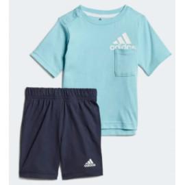 Adidas Junior I Bos Sum Set T-Shirt M/M+Short Azzurra/Blu Baby Bimbo-Giuglar Shop