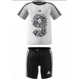 Adidas Junior I Lil 3S Sp Set T-Shirt M/M Bia/Ner+Short Nero 3S Bia Baby Bimbo-Giuglar Shop