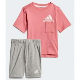 Adidas Junior I Bos Sum Set T-Shirt M/M+Short Rosa/Gri Mel Baby Bimbo-Giuglar Shop