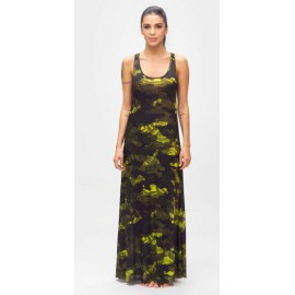 Effek Vestito Lungo Fantasia Camo Nero/Verde Fluo Donna-Giuglar Shop