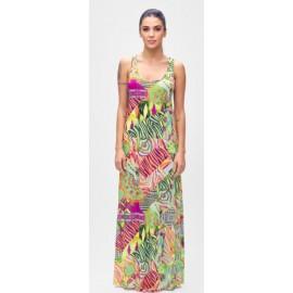 Effek Vestito Lungo Fantasia Verde/Arancio Donna - Giuglar Shop