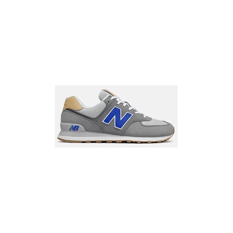 New Balance 574 Scamosciato/Nylon Inserti Pelle Grigia N Blu Uomo
