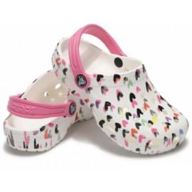 Crocs Classic Heart Print Clog K Whire Junior-Giuglar Shop