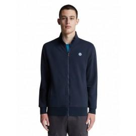 North Sails Organic Fleece Sweatshirt Felpa Zip Blu Uomo - Giuglar Shop