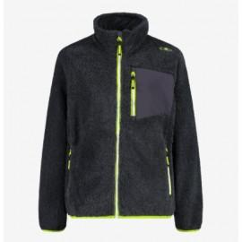 Cmp Kid Jacket Pile Orsetto Grigio Zip Verde Junior Bimbo - Giuglar Shop