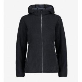 Cmp Woman Jacket Fix Hood Orsetto Ricciolo Nero Donna - Giuglar Shop