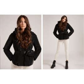 Guess Bella Jacket Eco Piumino Cintura Nero Satinato Donna - Giuglar Shop